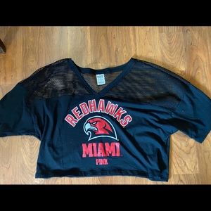 PINK Miami of Ohio Redhawks Cropped Jersey Size L